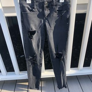 american eagle super stretch x4 black ripped jeans